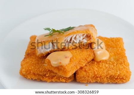 Fried fish with Tartar Sauce.Selective focus. Very shallow Depth of Field, for soft background. - stock photo