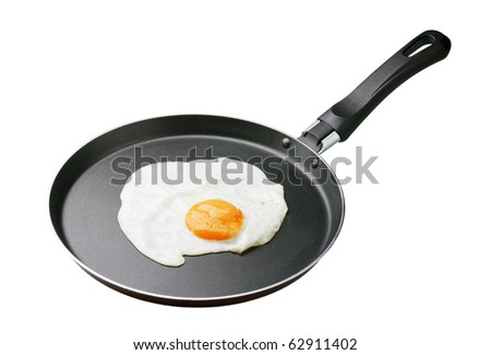 fried in a pan with a white background - stock photo