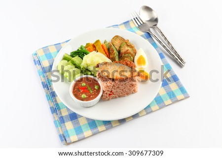 fried mackerel with shrimp paste sauce (nam prik kapi pla too) - stock photo