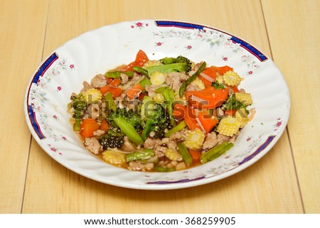Fried mixed vegetable in oyster sauce (famous thai street food) - stock photo
