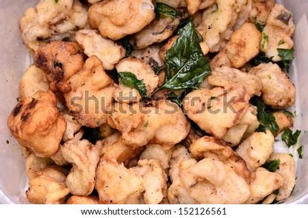 Fried mushroom dish portrait - stock photo