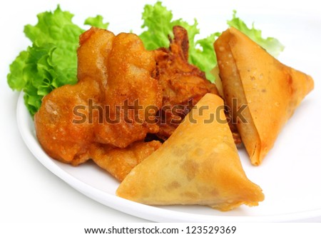 Fried mushroom with salad items of Indian subcontinent - stock photo