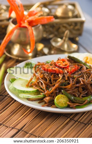 fried noodle with backgrounds - stock photo