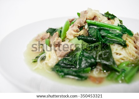 Fried noodle with pork and kale