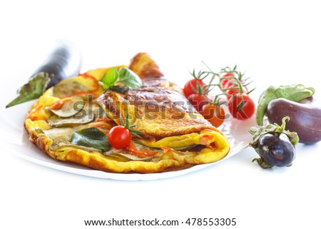fried omelet with eggplant and tomatoes