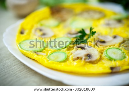 fried omelette with zucchini, eggplant and mushrooms