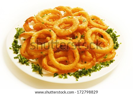 Fried onion rings. Fast food - stock photo