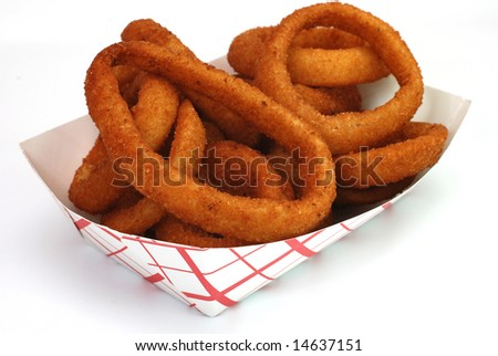 Fried onion rings in basket isolated on white background. - stock photo