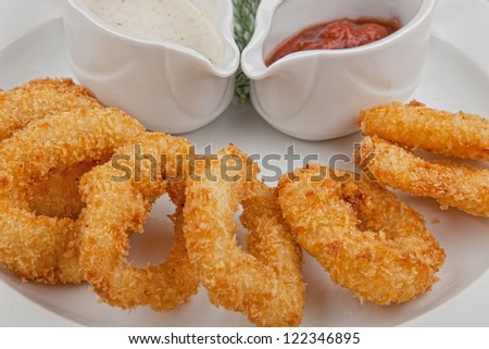 fried onion rings snack - stock photo