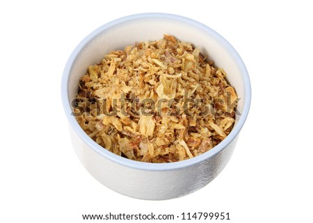 Fried Onions in Bowl on White Background - stock photo
