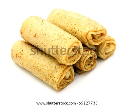 fried pancakes stuffed isolated on the plate on white background