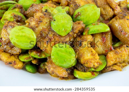 Fried Parkia pork and sauce, thai food - stock photo