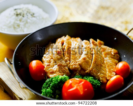 fried pork chops dinner set - stock photo
