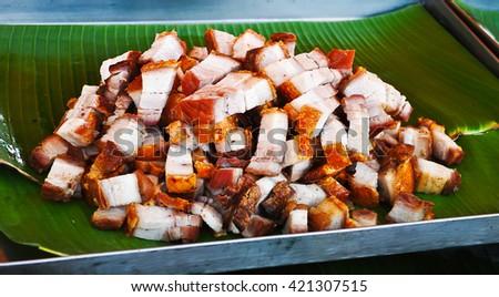 Fried pork in Market - stock photo