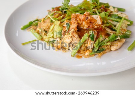 Fried pork sukiyaki on white dish - stock photo