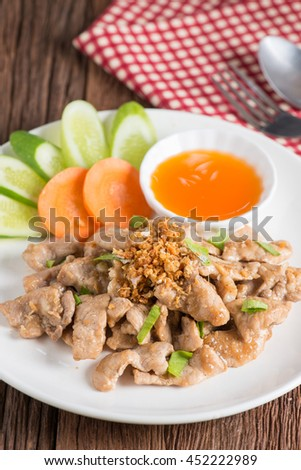 Fried pork with garlic.
