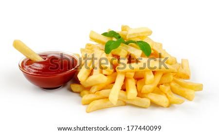 Fried Potato with tomato on white background - stock photo