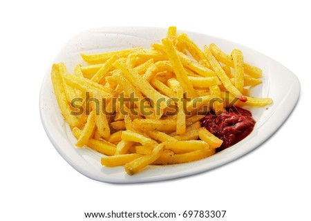 Fried potatoes and tomato ketchup on plate isolated - stock photo