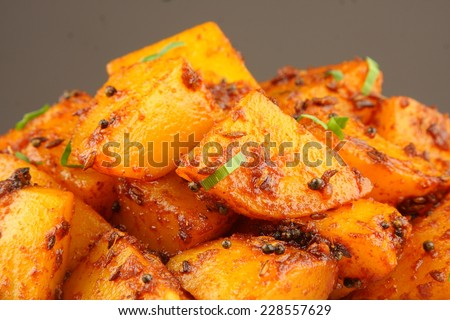 Fried potatoes close up ,shallow depth of field photograph. - stock photo
