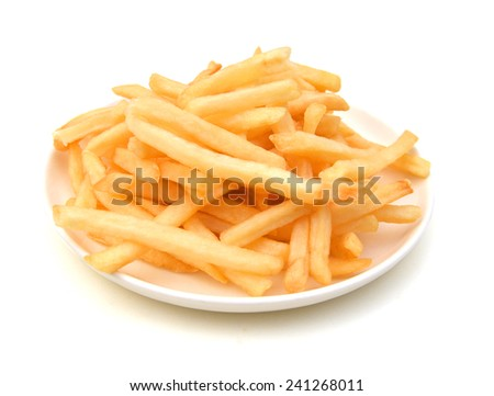 fried potatoes in white plate on white background  - stock photo