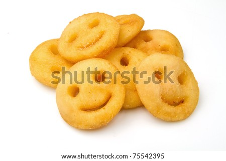 fried potatoes isolated on white background - stock photo