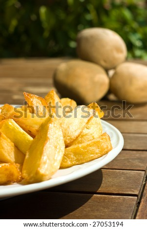 fried potatoes on a table on sunny day - stock photo