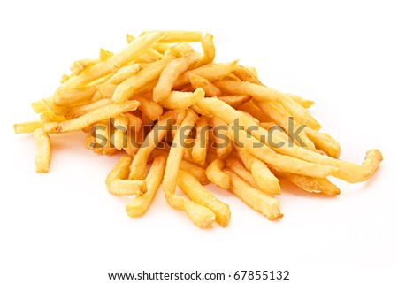 fried potatoes on white background