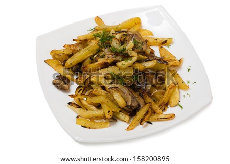 Fried potatoes with mushrooms and onions.
