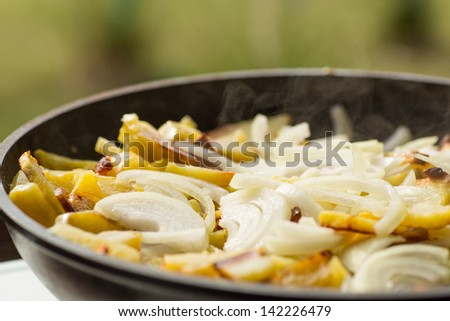fried potatoes with onions in a frying pan - stock photo