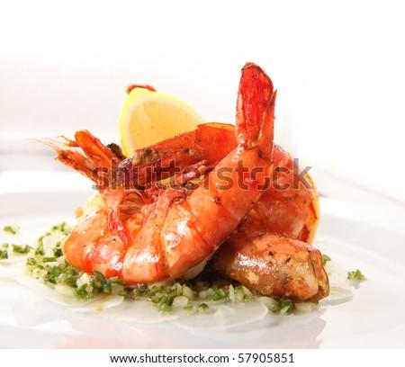 fried prawn food - stock photo