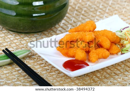 Fried Prawns with tomato paste and vegetables - stock photo
