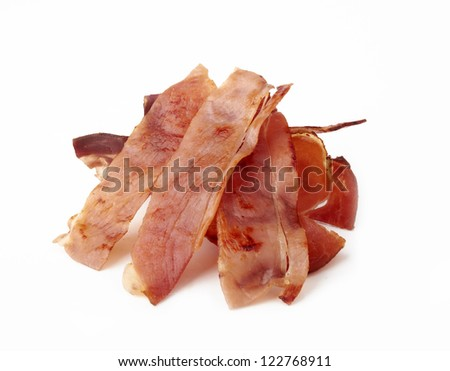 Fried rashers of bacon on a white - stock photo
