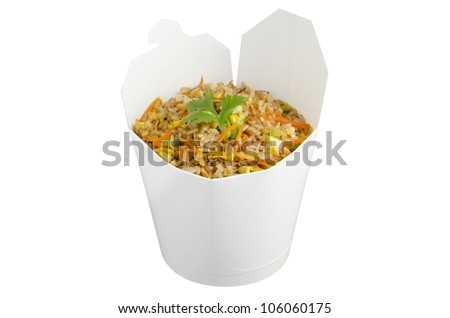 Fried rice in a take away container - stock photo