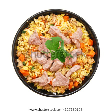 Fried Rice in bowl on white