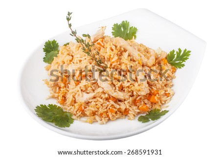 Fried rice on a white isolated background