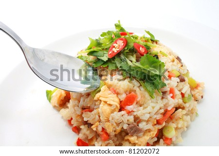 Fried Rice on white plate with spoon - stock photo
