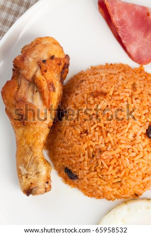 fried rice set with chicken - stock photo