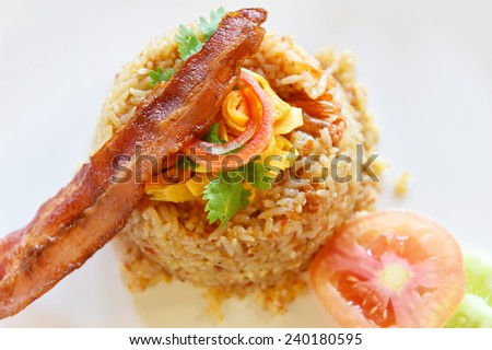 Fried Rice with Bacon - stock photo