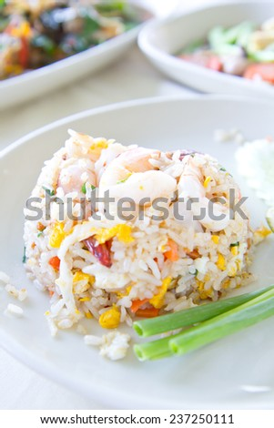 Fried rice with big shrimps, Thai food - stock photo
