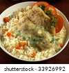 fried rice with fish,fish fried rice. - stock photo