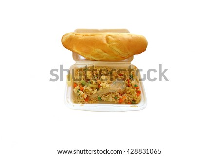 Fried rice with french  bread on foam white background