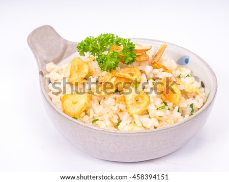 Fried rice with garlic isolated on white background