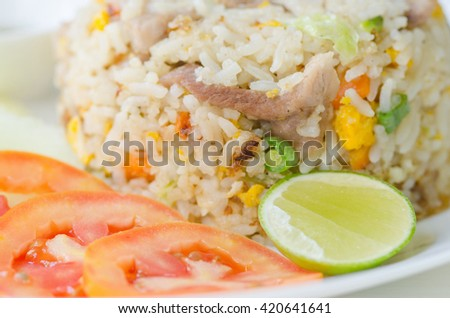 Fried rice with pork , Fried Rice with Vegetables and Meat