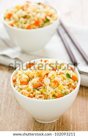 Fried rice with prawn and crab