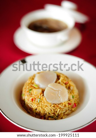 Fried rice with scallops - stock photo