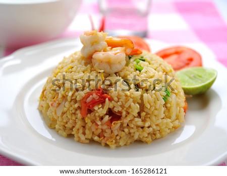 Fried rice with shrimp. - stock photo