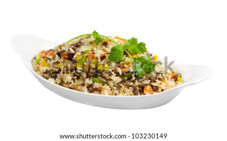 Fried rice with shrimp, mushroom and color bell pepper - stock photo