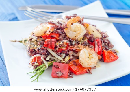 fried rice with shrimps - stock photo