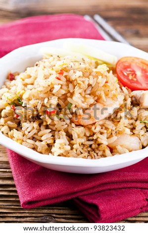 Fried Rice with shrimps and chicken - stock photo