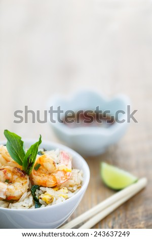 Fried rice with shrimps, Thailand - stock photo